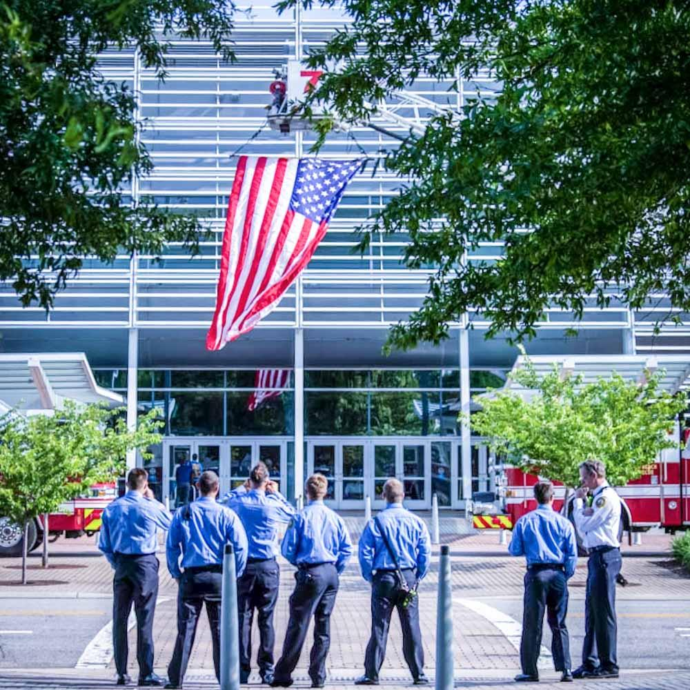 Raising the Flag at the Convention Center